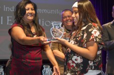 Sariah Lewis accepts Chief Azul Award