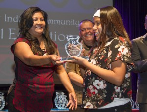 Sariah Lewis accepts Chief Azul Award